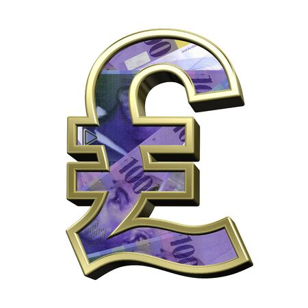 swiss franc: Pound sign from swiss franc bill alphabet set isolated over white. 3D illustration.