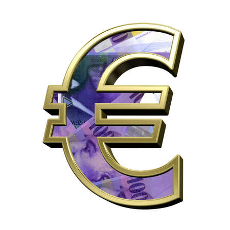 swiss franc: Euro sign from swiss franc bill alphabet set isolated over white. 3D illustration.