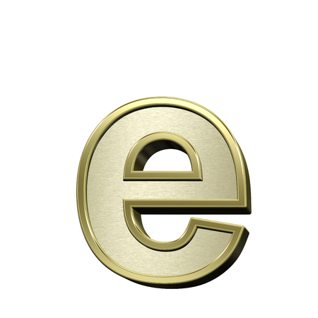 brushed gold: One lower case letter from brushed gold with shiny frame alphabet set, isolated on white. 3D illustration. Stock Photo