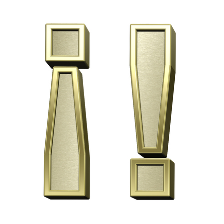 brushed gold: Exclamation mark from brushed gold with shiny frame alphabet set, isolated on white. 3D illustration.
