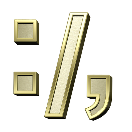 comma: Colon, semicolon, period, comma from brushed gold with shiny frame alphabet set, isolated on white. 3D illustration.