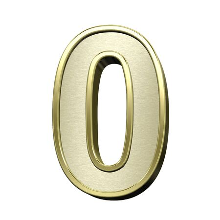 brushed gold: One digit from brushed gold with shiny frame alphabet set, isolated on white. 3D illustration. Stock Photo