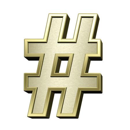 brushed gold: Number mark from brushed gold with shiny frame alphabet set, isolated on white. 3D illustration.