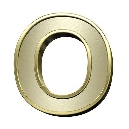 brushed gold: One letter from brushed gold with shiny frame alphabet set, isolated on white. 3D illustration. Stock Photo