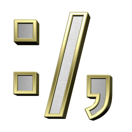 comma: Colon, semicolon, period, comma from brushed silver with gold shiny frame alphabet set, isolated on white. 3D illustration. Stock Photo