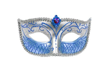 white mask: Carnival Venetian mask isolated on white background. Stock Photo