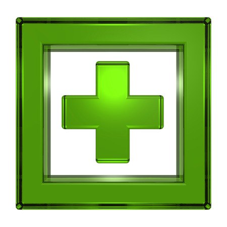 green cross: Green cross in the square isolated on white. 3D illustration. Stock Photo
