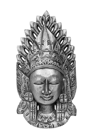 Silver wooden mask of god Vishnu isolated on white