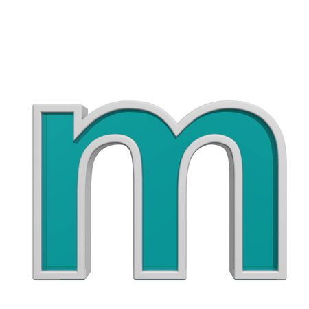 lower: One lower case letter from turquoise glass with white frame alphabet set. 3D illustration. Stock Photo