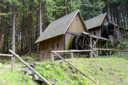 Gold mine water mills in Zlate Mesto, Czech Republic. Water mills were used for grinding ore and leaching for gold.