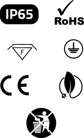 symbols: Symbols of electrical safety and environmental protection in vector.