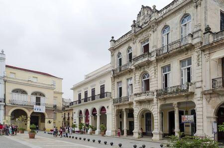 vieja: Renovated old buildings at famous Plaza Vieja square on 10 December 2015 in Havana, Cuba.