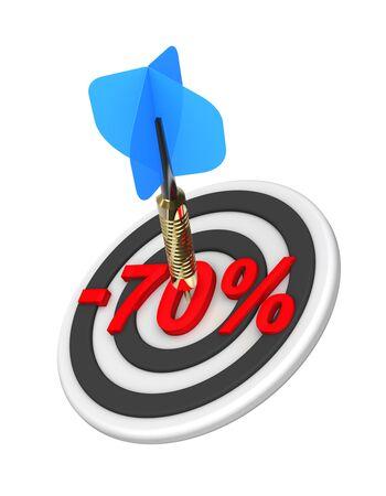 70: Dart hitting 70 percent discount off target. 3D illustration. Stock Photo
