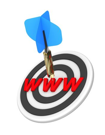 webmarketing: Dart hitting target. Web search concept. 3D illustration. Stock Photo