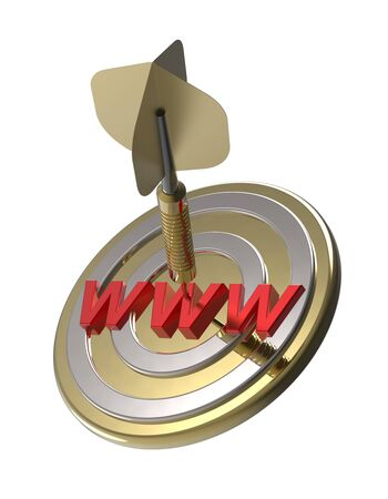 search engine optimized: Dart hitting target. Web search concept. 3D illustration. Stock Photo