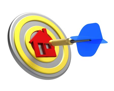commissions: Dart hit the center of house icon isolated on white background. 3D illustration.