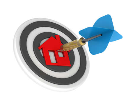 Dart hit the center of house icon isolated on white background. 3D illustration.