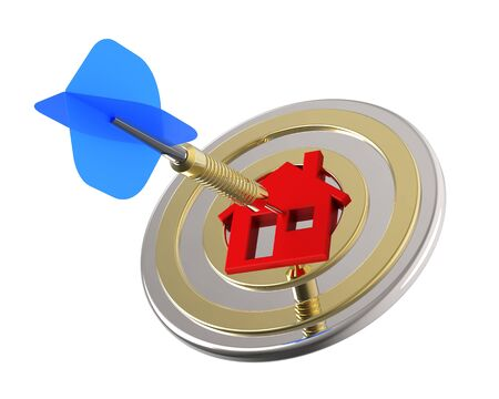 foreclosed: Dart hit the center of house icon isolated on white background. 3D illustration.