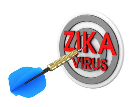 killed: Dart hitting target. Zika in a target concept. 3D illustration. Stock Photo