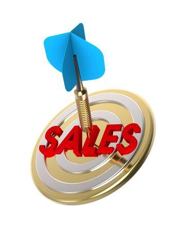 winning proposal: Dart hitting target. Growing sales concept. 3D illustration. Stock Photo