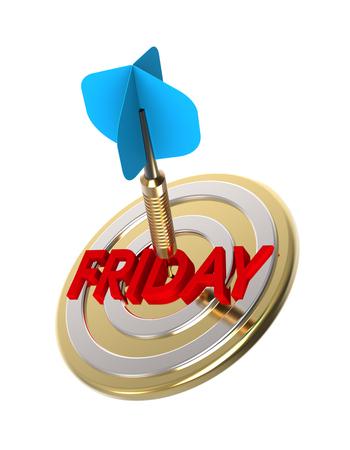 weekday: Dart hitting target. Friday concept. 3D illustration.