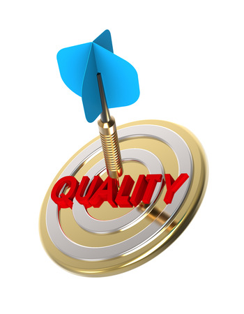 targeting: Dart hitting target. Targeting quality concept. 3D illustration. Stock Photo