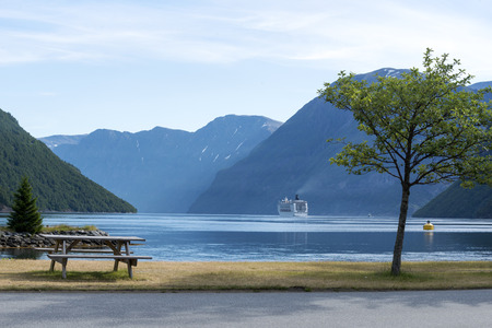natural landmark: Geirangerfjord in the morning - famous natural landmark in Norway. Stock Photo