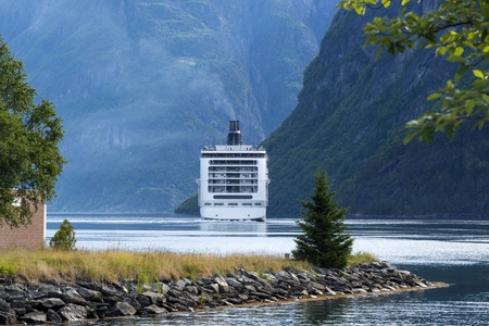 natural landmark: Geirangerfjord in the morning - famous natural landmark in Norway. Editorial