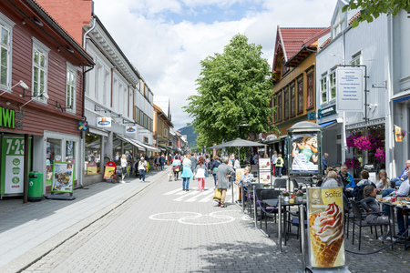 olympics: Tourists enjoying the beautiful weather walking through the streets of Lillehammer on June 27, 2016 in Lillehammer, Norway. Lillehammer City Winter Olympics in 1994. Editorial