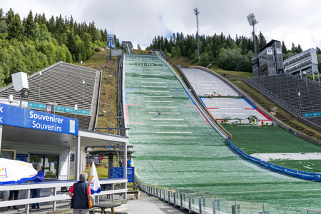jumpers: Training ski jumpers, who are preparing for the summer competitions on June 27, 2016 in Lillehammer, Norway. Lillehammer is the center of winter sports.