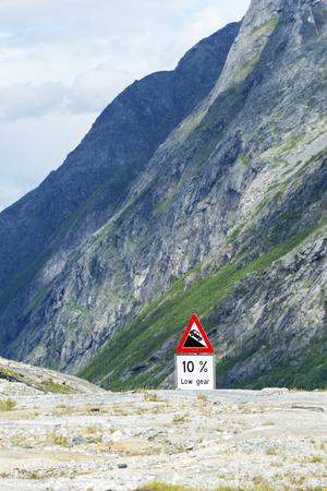 dangerous road: Warning sign on the Trollstigen road, Norway. The most winding and dangerous road in Europe.