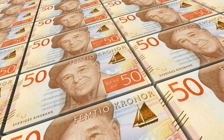 swedish: Swedish kronor bills stacks background. 3D illustration.