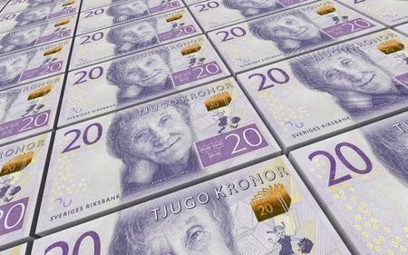 prespective: Swedish kronor bills stacks background. 3D illustration.