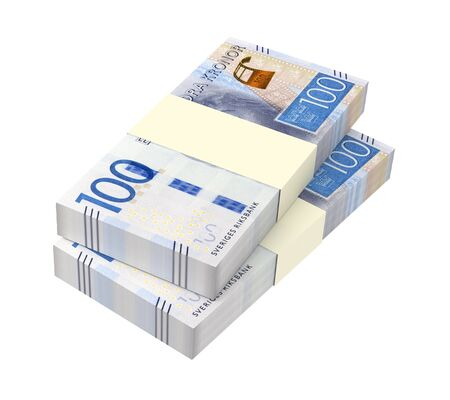 swedish: Swedish kronor isolated on white background. 3D illustration. Stock Photo