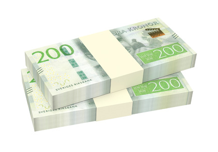 packaged: Swedish kronor isolated on white background. 3D illustration. Stock Photo