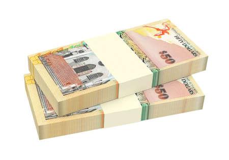 batch of dollars: Bermuda dollars isolated on white background. 3D illustration. Stock Photo