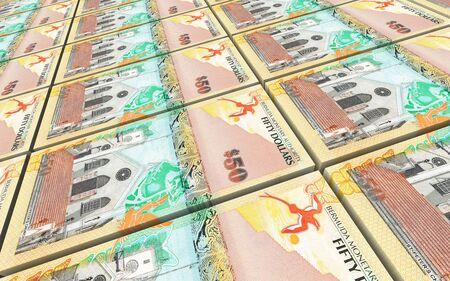 prespective: Bermuda dollars bills stacks background. 3D illustration.