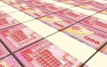 batch of dollars: Bermuda dollars bills stacks background. 3D illustration.