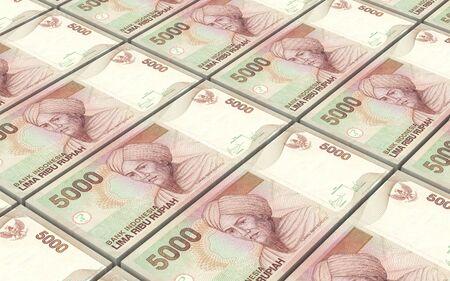 banknote: Indonesian rupiah bills stacks background. 3D illustration. Stock Photo