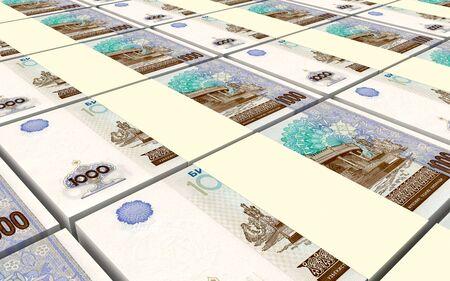 sums: Uzbekistan sums bills stacks background. 3D illustration.