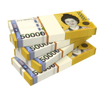 won: Korean won bills isolated on white background. 3D illustration.