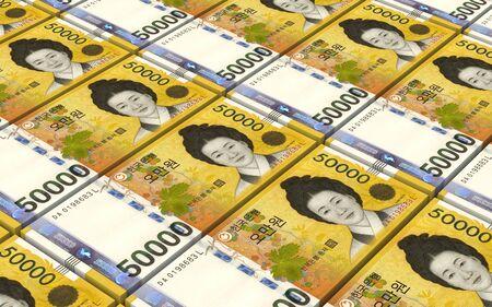 Koreaanse won rekeningen stapels achtergrond. 3D-afbeelding.