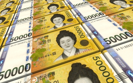 Korean won bills stacks background. 3D illustration.
