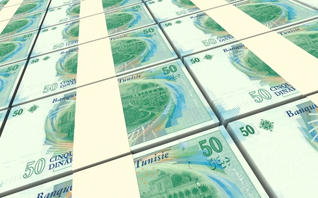 profitability: Tunisian dinars bills stacks background. 3D illustration.