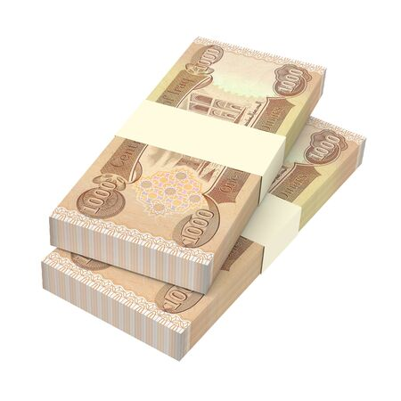 iraq money: Iraqi dinars bills isolated on white background. 3D illustration.