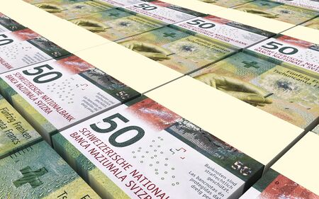 swiss franc note: Swiss franc bills stacks background. 3D illustration.