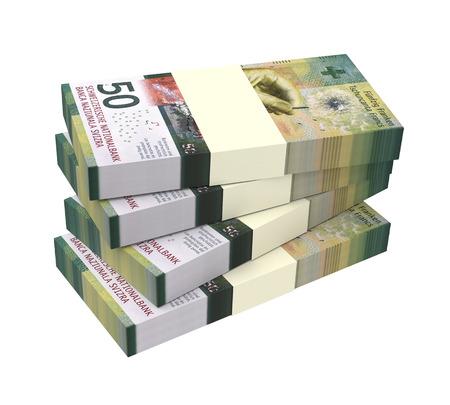 Swiss money isolated on white background. 3D illustration. Reklamní fotografie