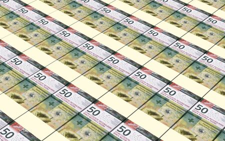 swiss: Swiss franc bills stacks background. 3D illustration.