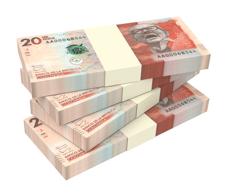 packaged: Colombian pesos money isolated on white background. 3D illustration.