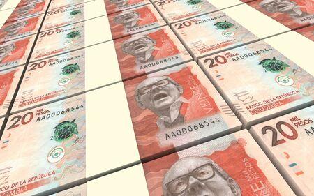 pesos: Colombian pesos bills stacks background. 3D illustration. Stock Photo